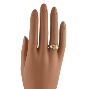 Tiffany & Co. 18k Yellow Gold X Crossover Grooved Ring Size - 6.5
