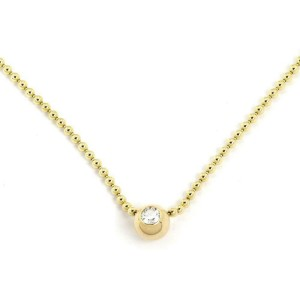 Cartier Solitaire Diamond Ball Pendant 18k Yellow Gold Bead Necklace Paper