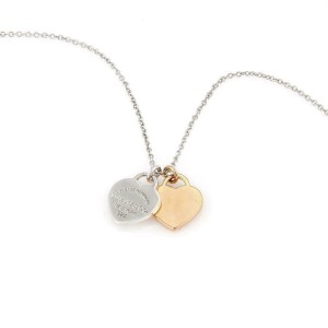 Tiffany & Co Please Return 925 Silver 18k Rose Gold 2 Hearts Pendant Chain