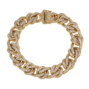 "Men's 6.5ct Diamond 18k Yellow Gold Fancy Curb Link Chain Bracelet 8.5""L"