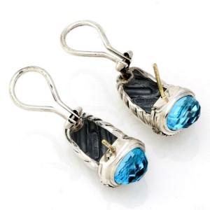 David Yurman Diamond Blue Topaz 925 Silver Shrimp Cable Huggie Earrings