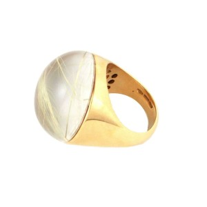 Roberto Coin Rultilated Quartz Mother of Pearl 18k Yellow Gold Dome Ring