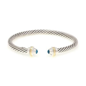 Blue Topaz Sterling 14k Yellow Gold 4.5mm Cable Cuff Bracelet