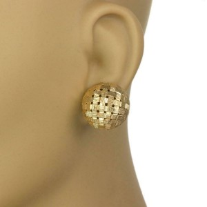 Tiffany & Co. Vintage 18k Yellow Gold Basket Weave Dome Post Clip Earrings