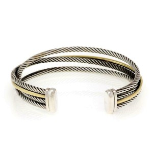 David Yurman Sterling 18k YGold 4 Band Crossover Cable Cuff Bracelet