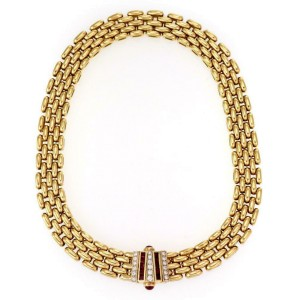 Fabulous 4.00ct Diamond Ruby 18k Yellow Gold 5 Row Oval Link Collar Necklace