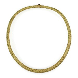 Roberto Coin Silk 18k Yellow Gold 8mm Basket Weave Flex Choker Necklace