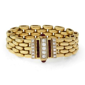 Fabulous 4.00ct Diamond Ruby 18k Yellow Gold 5 Row Flex Link Bracelet