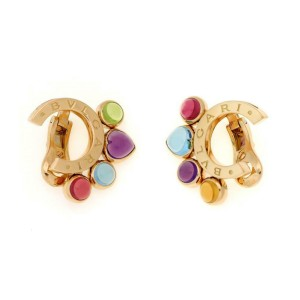 Bvlgari Bulgari Allegra 8ct Multicolor Gems 18k Gold Fancy Clip On Earrings
