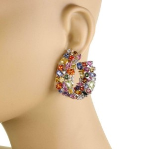 18k White Gold 62 Carats Multi-Color Sapphire & Diamond Large Earrings