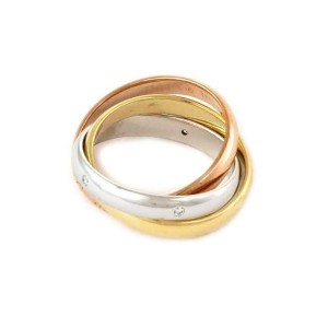 Cartier Trinity Diamond 18k Tricolor Gold 3.5mm 3 Band Ring Size 54 US-7