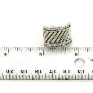 David Yurman 1.00ct Diamond Sterling 15mm Wide Cable Post Clip Earrings