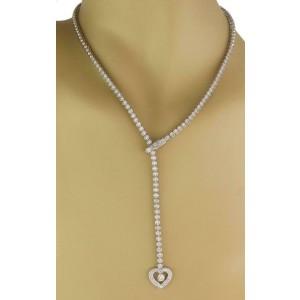 Estate 2.00ct Diamonds 14k White Gold Heart Pendant Lariat Necklace