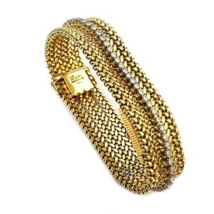 Cartier Rare Vintage 3.25ct Diamond 18k Gold Wide Flex Band Cover Watch