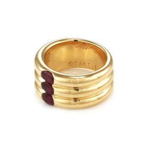 65072Cartier Ellipse 2.25ct Ruby 18k Gold 3 Stack Dome Band Size EU 50 Box Paper