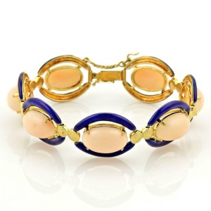Vintage Cabochon Angel Skin Coral & Enamel 14k Yellow Gold Fancy Bracelet