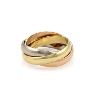 Cartier Trinity 18k Tricolor Gold 3.5mm Triple Band Ring Size 53-US-6.25