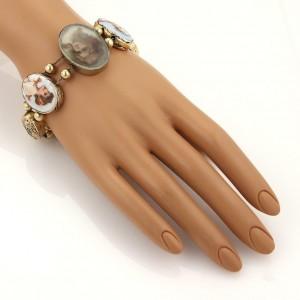 Antique 14k Gold Hand Painted Porcelain & Gems Women Cameo Oval Slide Bracelet