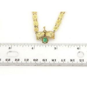 Victorian Emerald 14k YGold Flower & Leaf Pendant Floral Link Necklace