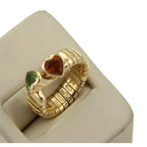 Bvlgari Bulgari 1.50ct Citrine & Peridot Hearts 18k Gold Tubogas Hook Ring