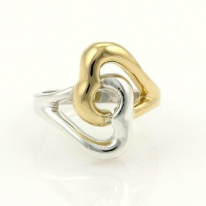 Tiffany & Co. 18k Yellow Gold & Silver Double Heart Ring Size 4.75