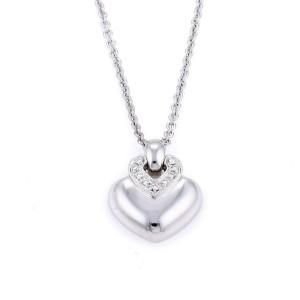 Bulgari Bvlgari Diamond 18k White Gold Puffed Heart Pendant Necklace