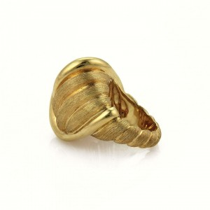 Henry Dunay 18k Yellow Gold Large Dome Knot Design Textured Ring Size 6