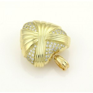 Estate Diamonds & 18k Yellow Gold Large Fancy Design Puffed Heart Pendant