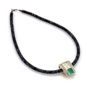 Estate 3.50 carat Diamond Emerald 14k Gold Pendant Necklace