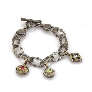 Konstantino Tourmaline Sterling 18k Yellow Gold 3 Floral Charms Fancy Bracelet