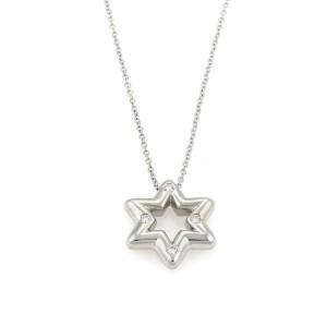 Tiffany & Co. Diamond Platinum 6 Point Star Pendant & Chain Necklace