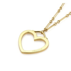 Tiffany & Co. 18k Yellow Gold Sentimental Large Heart Pendant Necklace