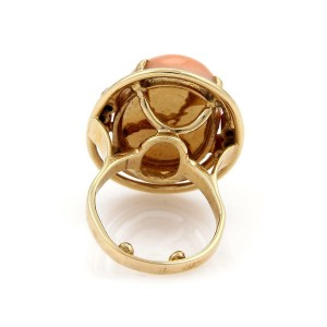 Vintage Diamond Large Cabochon Coral 14k Yellow Gold Cocktail Ring Size 7