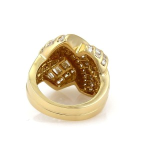 Charles Krypell 4 Carats Diamond X Crossover 18k Yellow Gold Band Ring