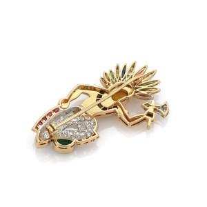 Estate 1.45ct Diamond & Gems Platinum 18k Yellow Gold Native Indian Brooch
