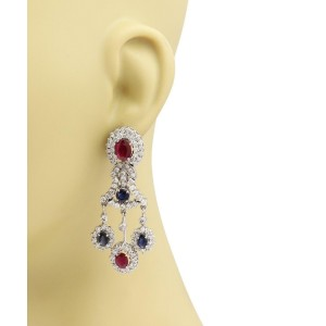 Estate 18 Carats Diamond Ruby Sapphire 14k White Gold Chandelier Earrings