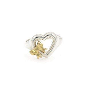Tiffany & Co. 1990 Sterling Silver 18k Yellow Gold Heart & Bow Ring Size 6