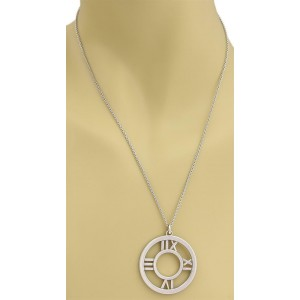 Tiffany & Co. Atlas 18k White Gold Large Roman Numeral Pendant & Chain