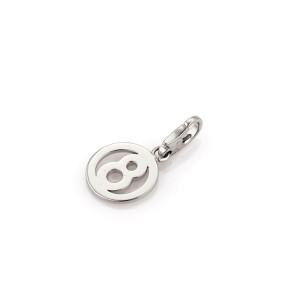 "Cartier 18k White Gold ""8"" Circle Charm"