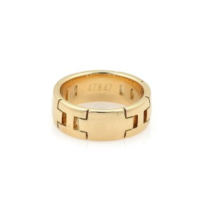 """Hermes """"H"""" Logo 18k Yellow Gold 6.5mm Wide Band Ring Size 51-US 5.5"""