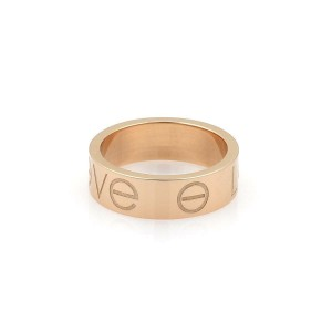 Cartier Love Engraved 18k Rose Gold 5.5mm Band Ring Size 48-US 4.5
