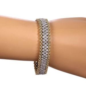 Estate 5.75ct Diamond 14k Gold 12mm Wide Fancy Flex Link Bracelet
