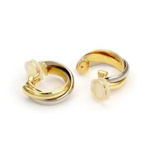 Cartier Trinity 18k Tricolor Gold Triple Interlaced Curved Clip On Earrings