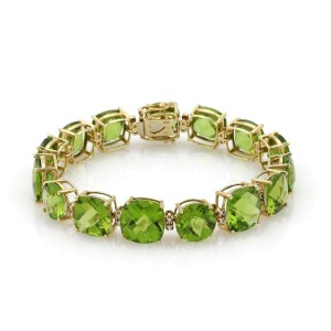 Vintage 55.30ct Peridot & Diamond 14k Yellow Gold Fancy Bracelet