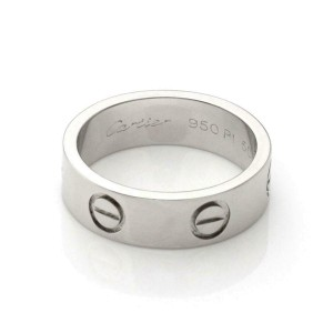 Cartier Love Platinum 5.5mm Wide Band Ring Size 50-US 5