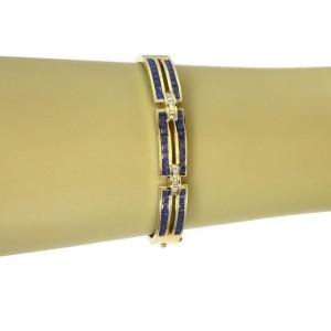 Estate 4.60ct Sapphire & Diamond 14k Yellow Gold Bangle Bracelet