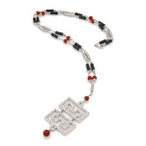 Estate 5.45ct Diamond 18k White Gold Onyx Carnelian Fancy Pendant Necklace