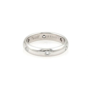 Cartier 1992 Stella Diamond 18k White Gold 4mm Band Ring Size 46-US 3.75