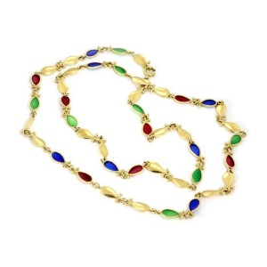 Vintage 18k Yellow Gold Multicolor Enamel Tear Shape Links Long Necklace