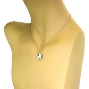 Tiffany & Co. Peretti Platinum Rectangular Concave ID Pendant Necklace